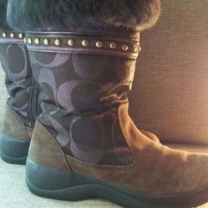 Coach Fur Trim Lesly Winter Boots